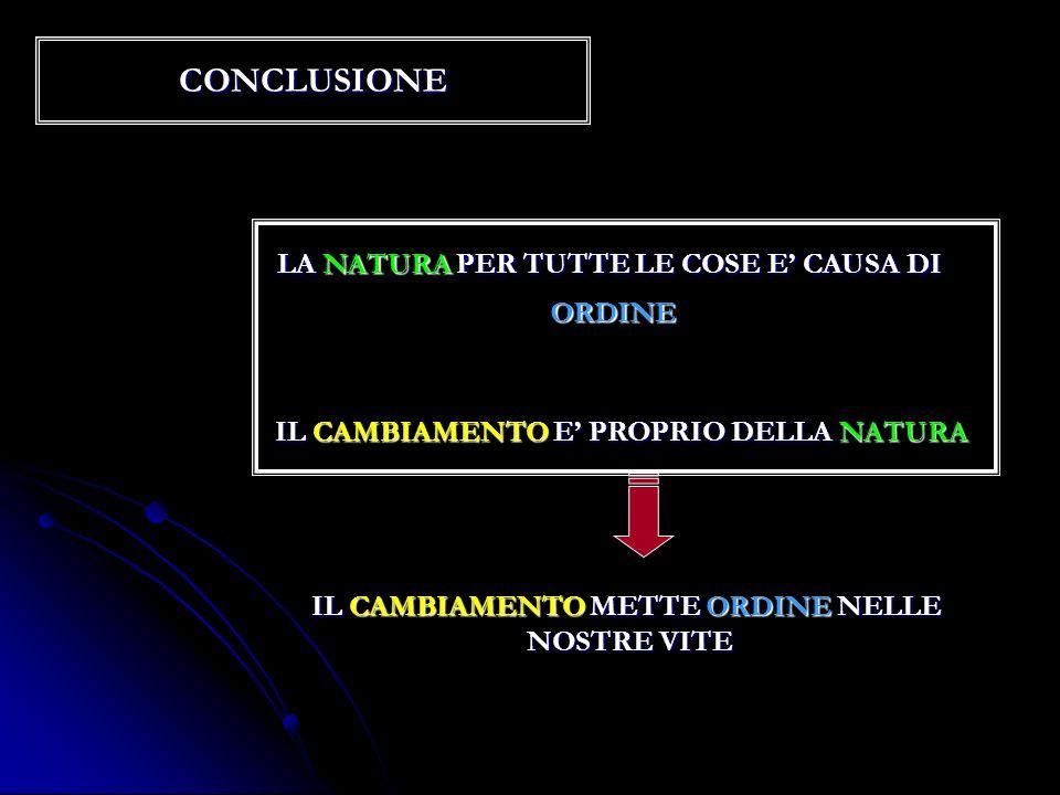 CONCLUSIONE LA NATURA PER TUTTE LE COSE E' CAUSA DI ORDINE