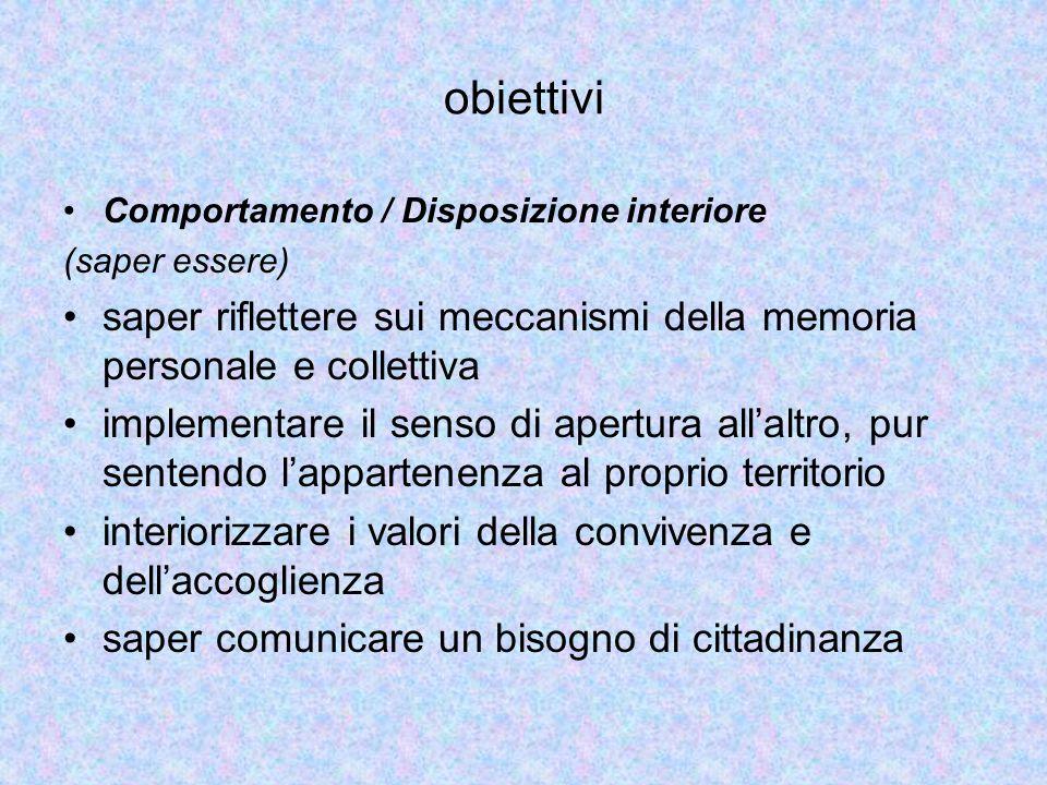 obiettivi Comportamento / Disposizione interiore. (saper essere) saper riflettere sui meccanismi della memoria personale e collettiva.