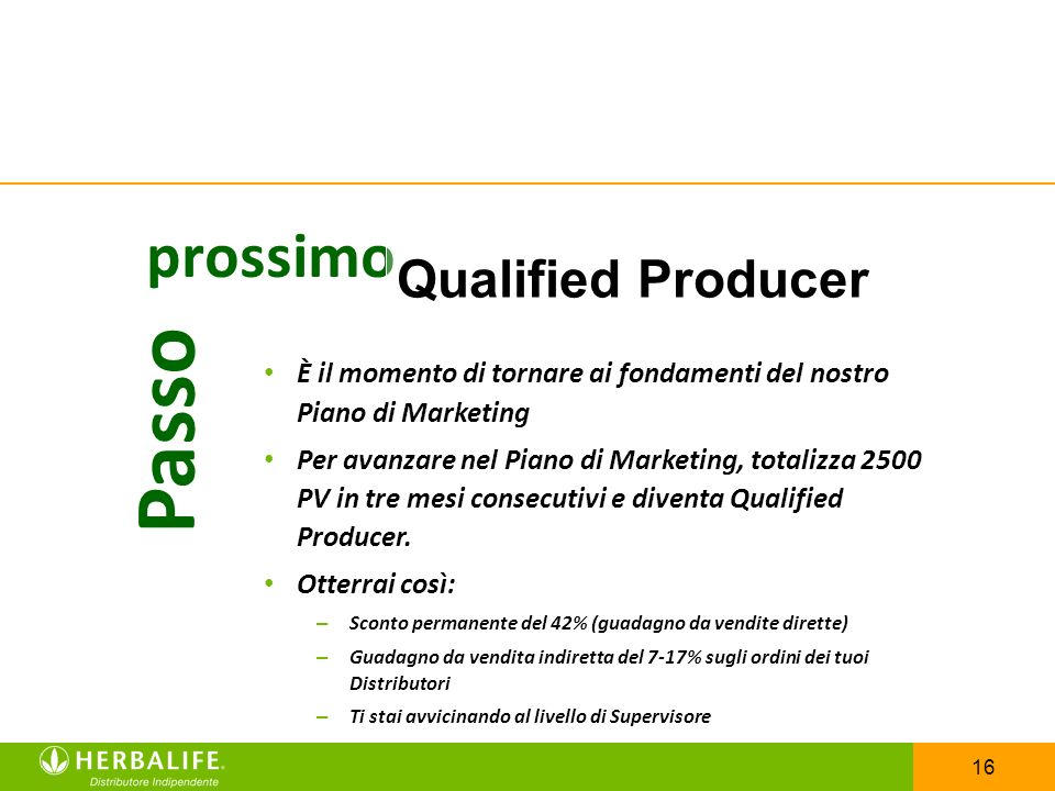 Passo prossimo Qualified Producer