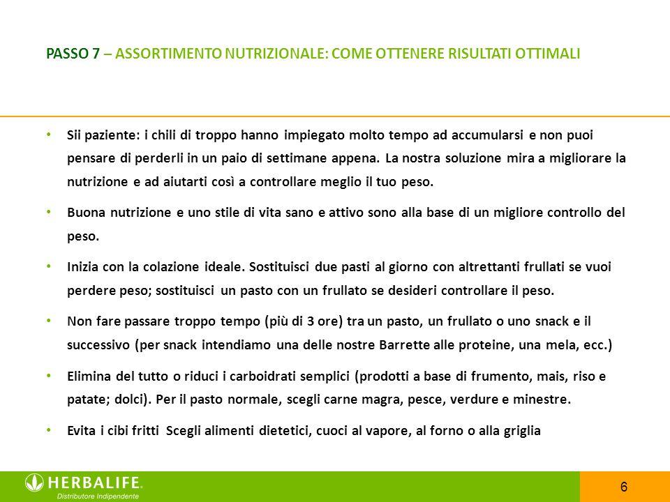 PASSO 7 – ASSORTIMENTO NUTRIZIONALE: COME OTTENERE RISULTATI OTTIMALI