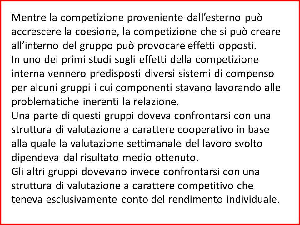 Mentre la competizione proveniente dall'esterno può accrescere la coesione, la competizione che si può creare all'interno del gruppo può provocare effetti opposti.