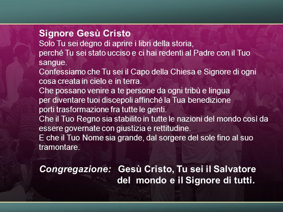 Congregazione: Gesù Cristo, Tu sei il Salvatore