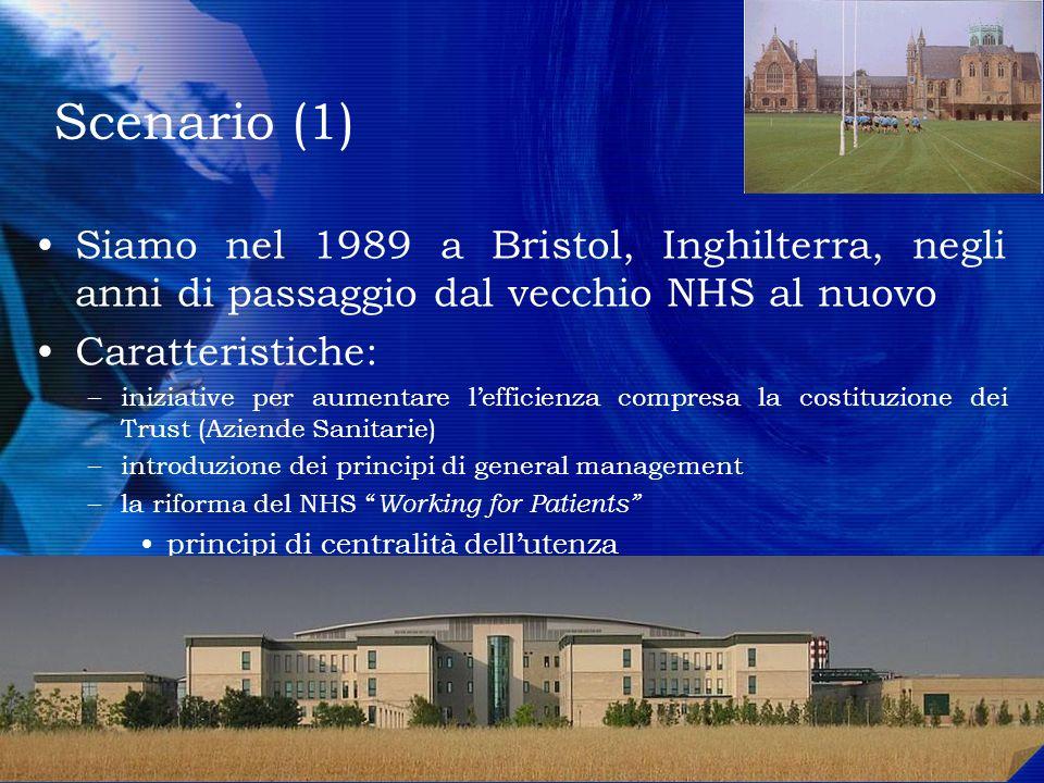 Scenario (1) Siamo nel 1989 a Bristol, Inghilterra, negli anni di passaggio dal vecchio NHS al nuovo.