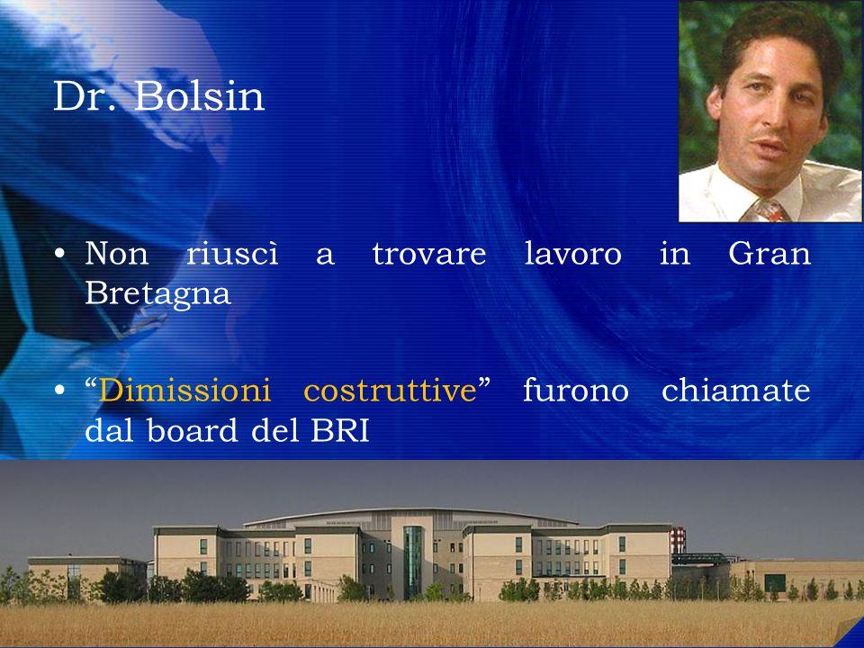 Dr. Bolsin Non riuscì a trovare lavoro in Gran Bretagna