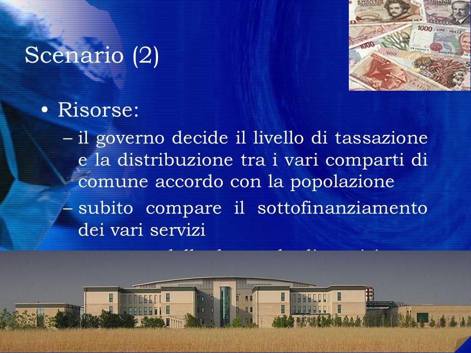 Scenario (2) Risorse: il governo decide il livello di tassazione e la distribuzione tra i vari comparti di comune accordo con la popolazione.