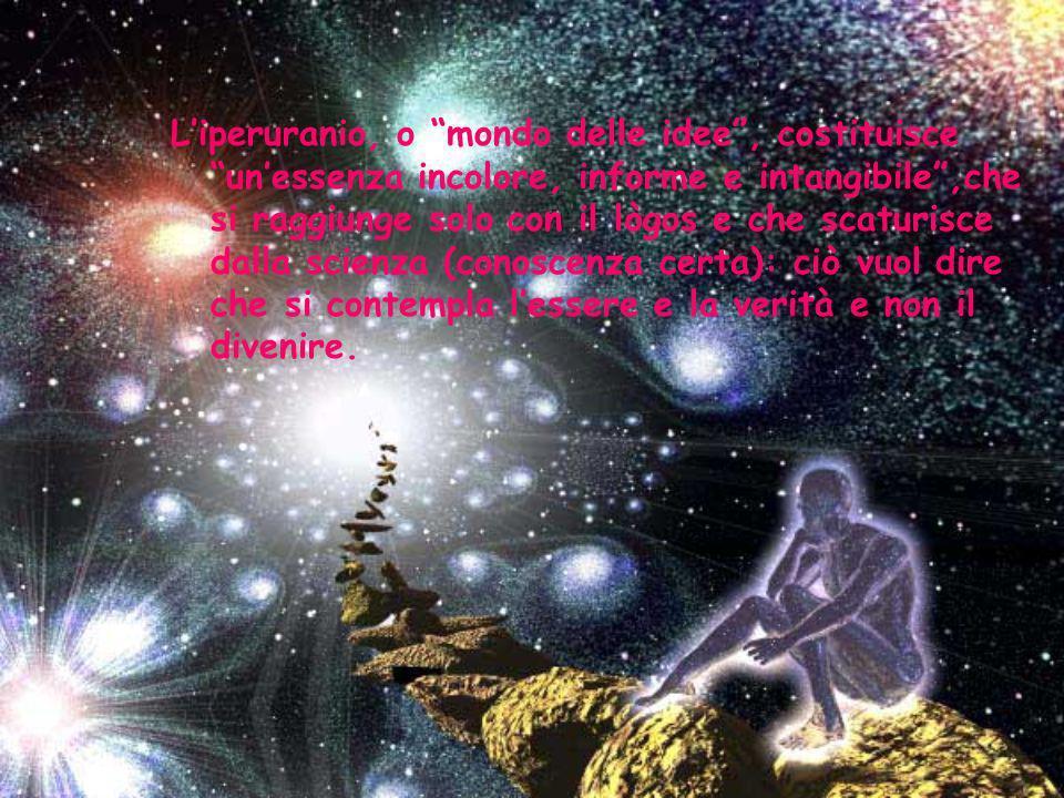 L'iperuranio, o mondo delle idee , costituisce un'essenza incolore, informe e intangibile ,che si raggiunge solo con il lògos e che scaturisce dalla scienza (conoscenza certa): ciò vuol dire che si contempla l'essere e la verità e non il divenire.
