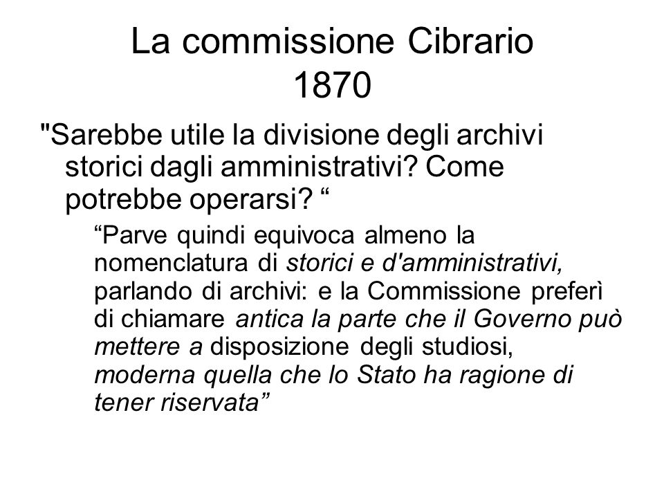 La commissione Cibrario 1870