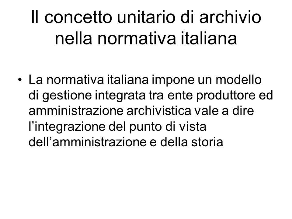 Il concetto unitario di archivio nella normativa italiana