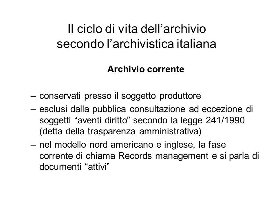 Il ciclo di vita dell'archivio secondo l'archivistica italiana