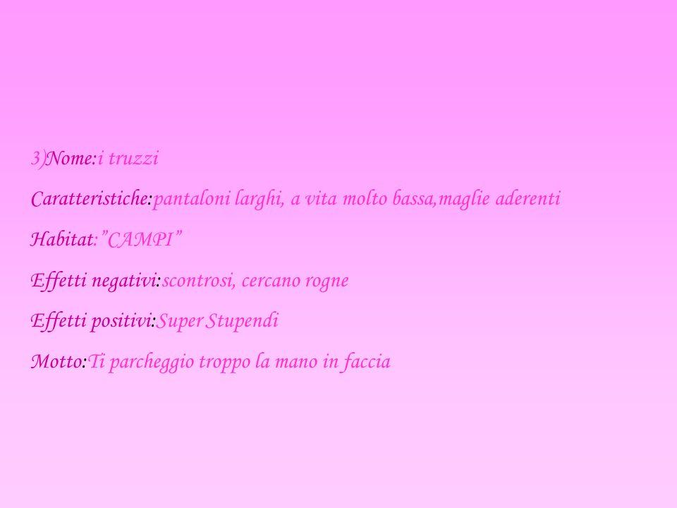 3)Nome:i truzzi Caratteristiche:pantaloni larghi, a vita molto bassa,maglie aderenti. Habitat: CAMPI