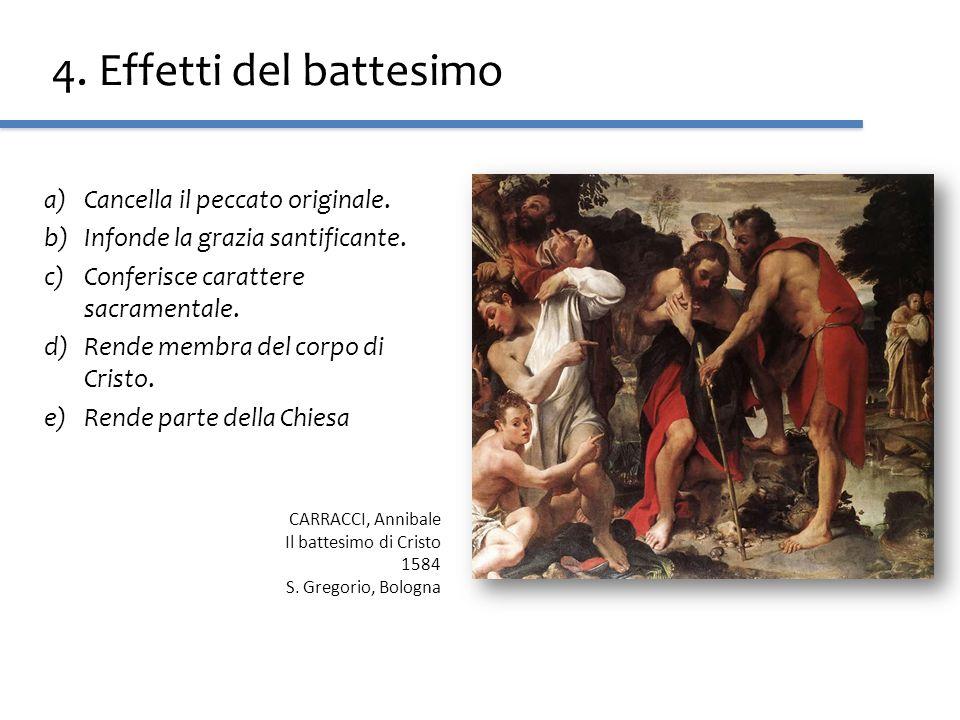 4. Effetti del battesimo Cancella il peccato originale.
