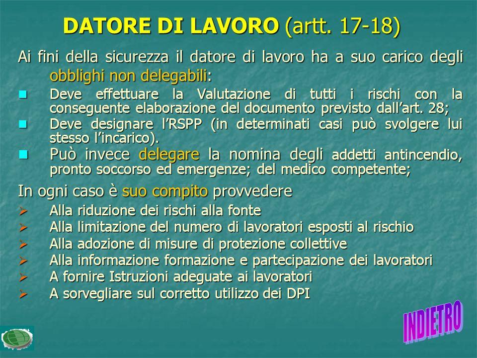 DATORE DI LAVORO (artt. 17-18)