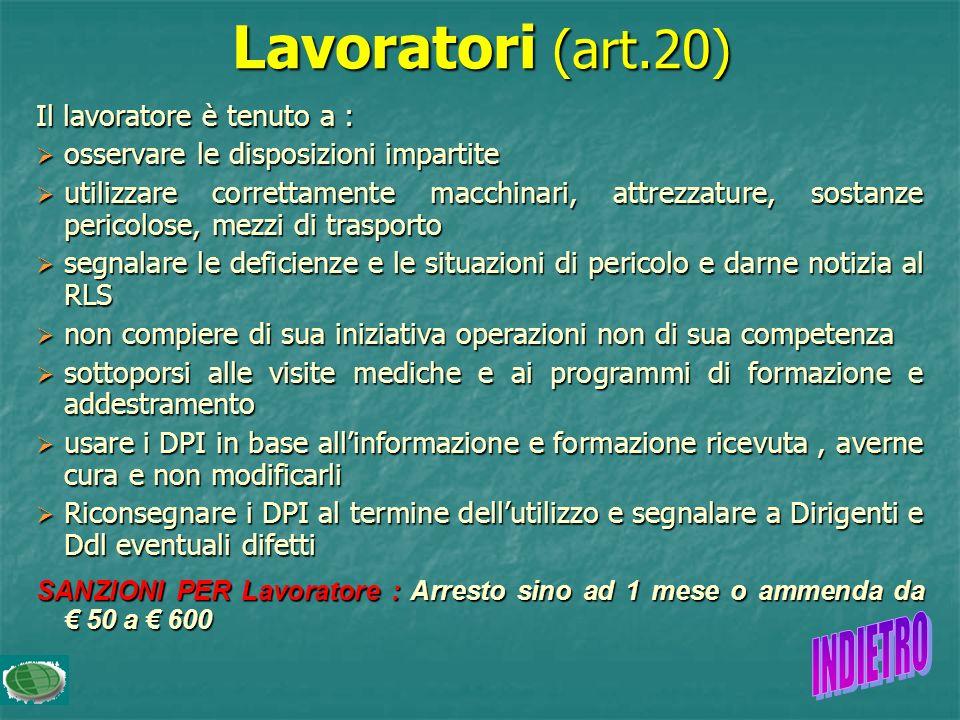 Lavoratori (art.20) INDIETRO Il lavoratore è tenuto a :