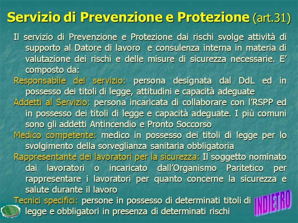 Servizio di Prevenzione e Protezione (art.31)