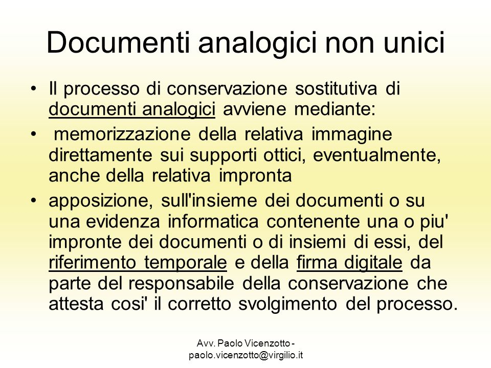 Documenti analogici non unici