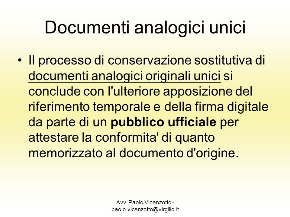 Documenti analogici unici