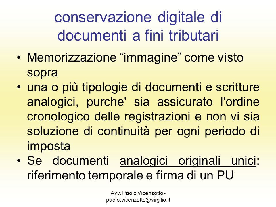 conservazione digitale di documenti a fini tributari