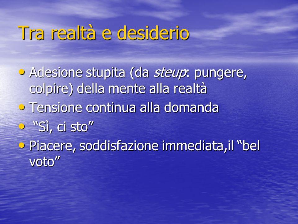 Tra realtà e desiderio Adesione stupita (da steup: pungere, colpire) della mente alla realtà. Tensione continua alla domanda.