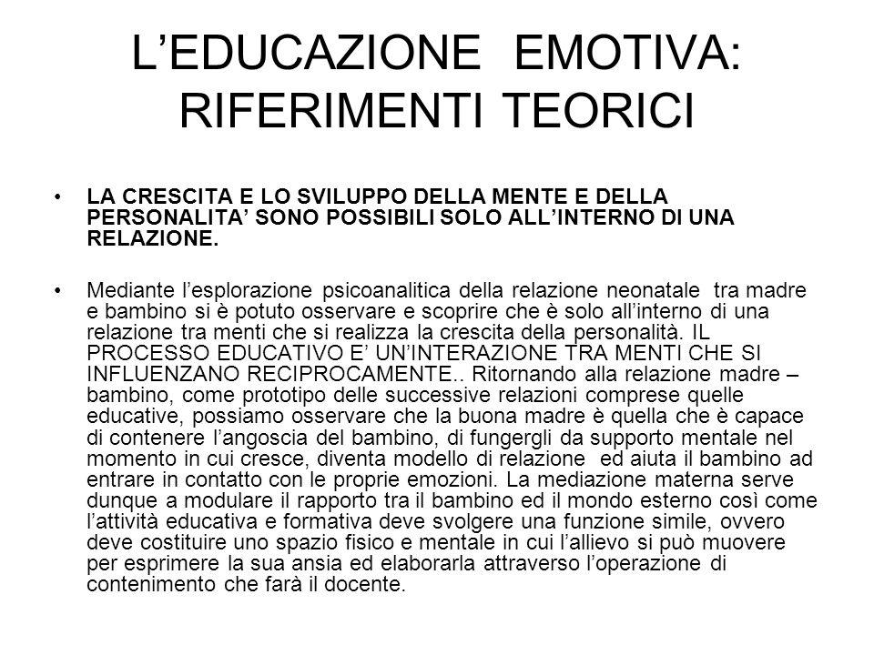 L'EDUCAZIONE EMOTIVA: RIFERIMENTI TEORICI