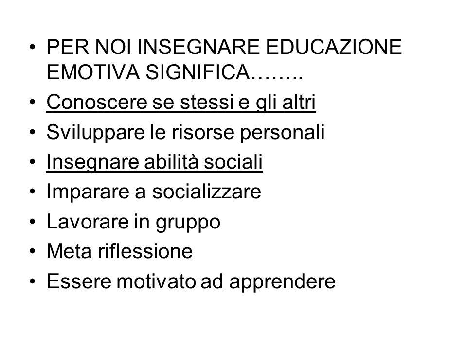 PER NOI INSEGNARE EDUCAZIONE EMOTIVA SIGNIFICA……..