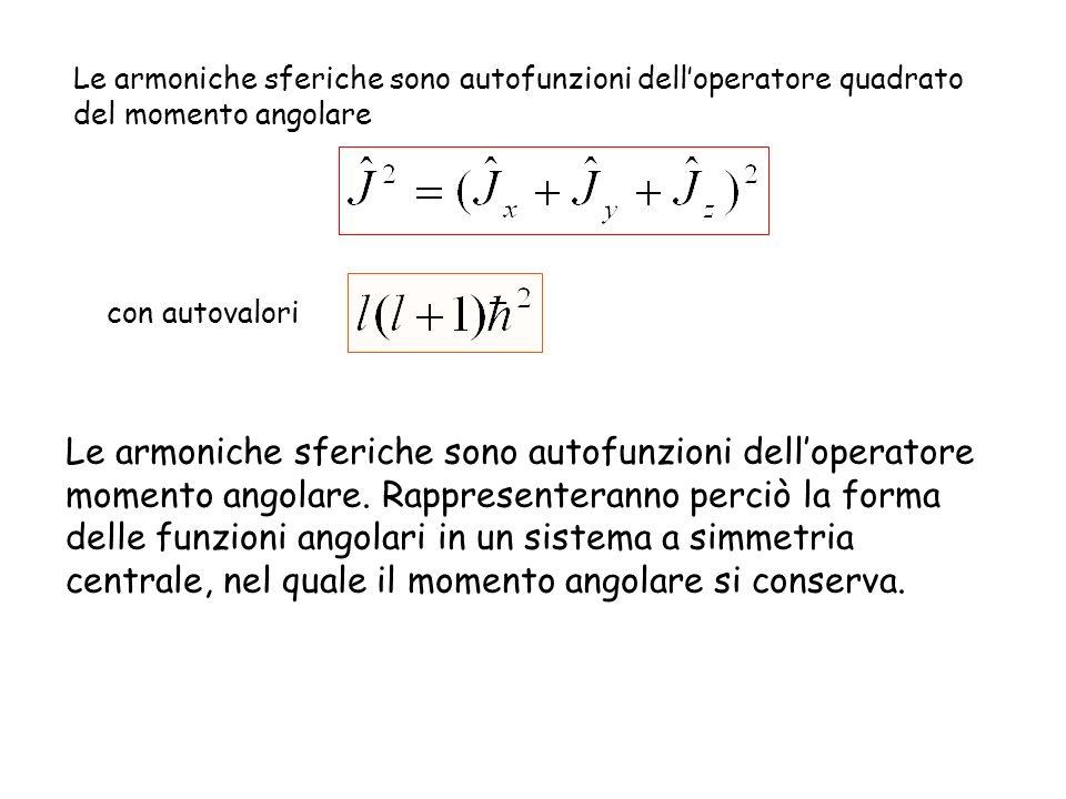 Le armoniche sferiche sono autofunzioni dell'operatore quadrato del momento angolare