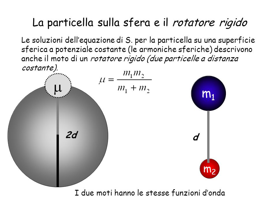 m m1 La particella sulla sfera e il rotatore rigido m2 2d d
