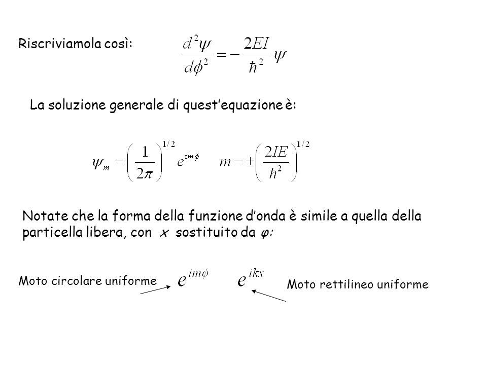 La soluzione generale di quest'equazione è: