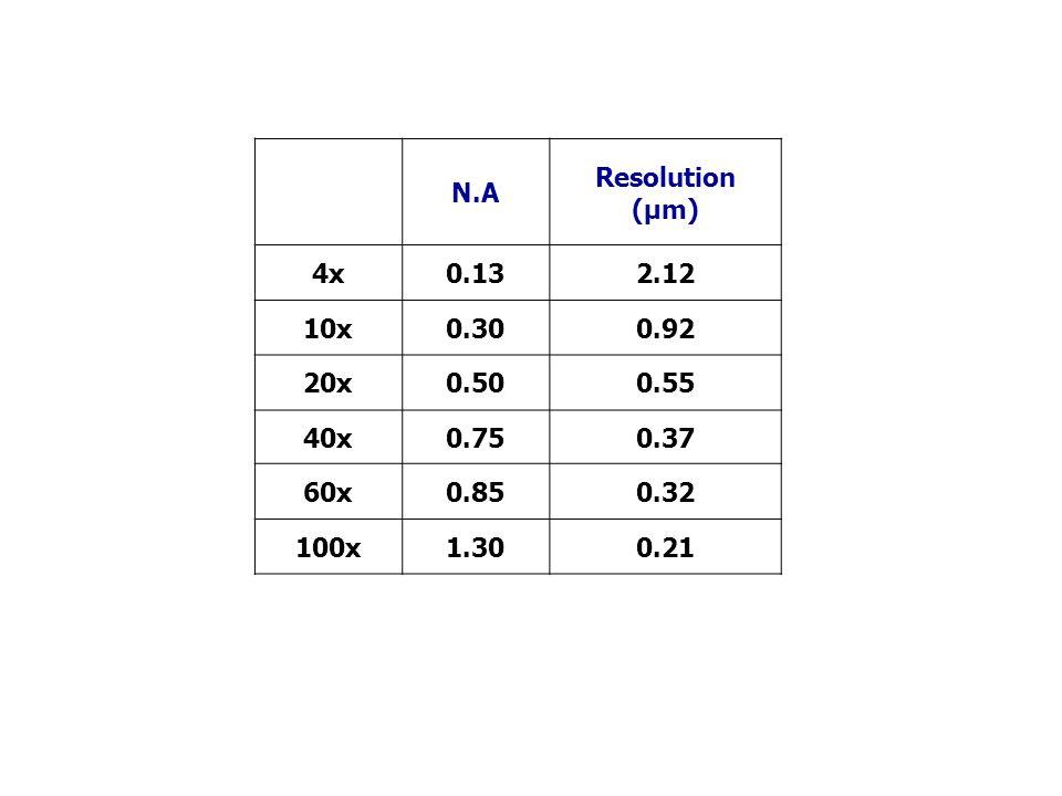 N.AResolution (µm) 4x. 0.13. 2.12. 10x. 0.30. 0.92. 20x. 0.50. 0.55. 40x. 0.75. 0.37. 60x. 0.85. 0.32.