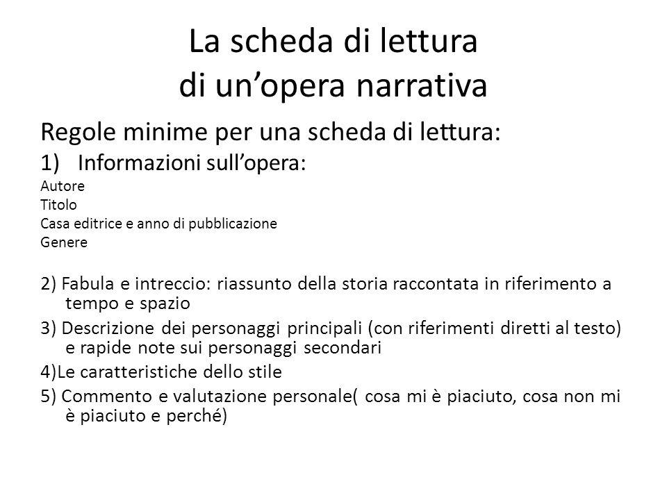 La scheda di lettura di un'opera narrativa