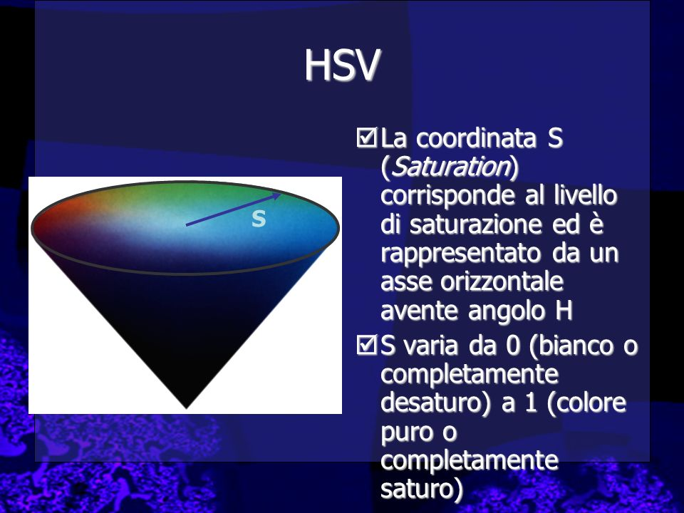 HSV La coordinata S (Saturation) corrisponde al livello di saturazione ed è rappresentato da un asse orizzontale avente angolo H.