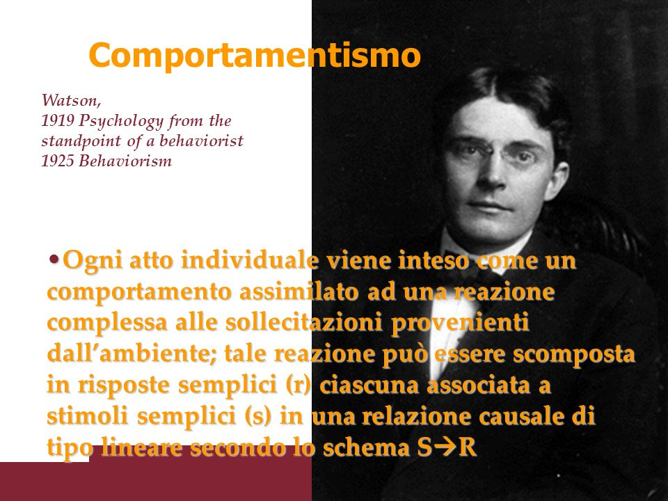 Comportamentismo Watson, 1919 Psychology from the standpoint of a behaviorist. 1925 Behaviorism.