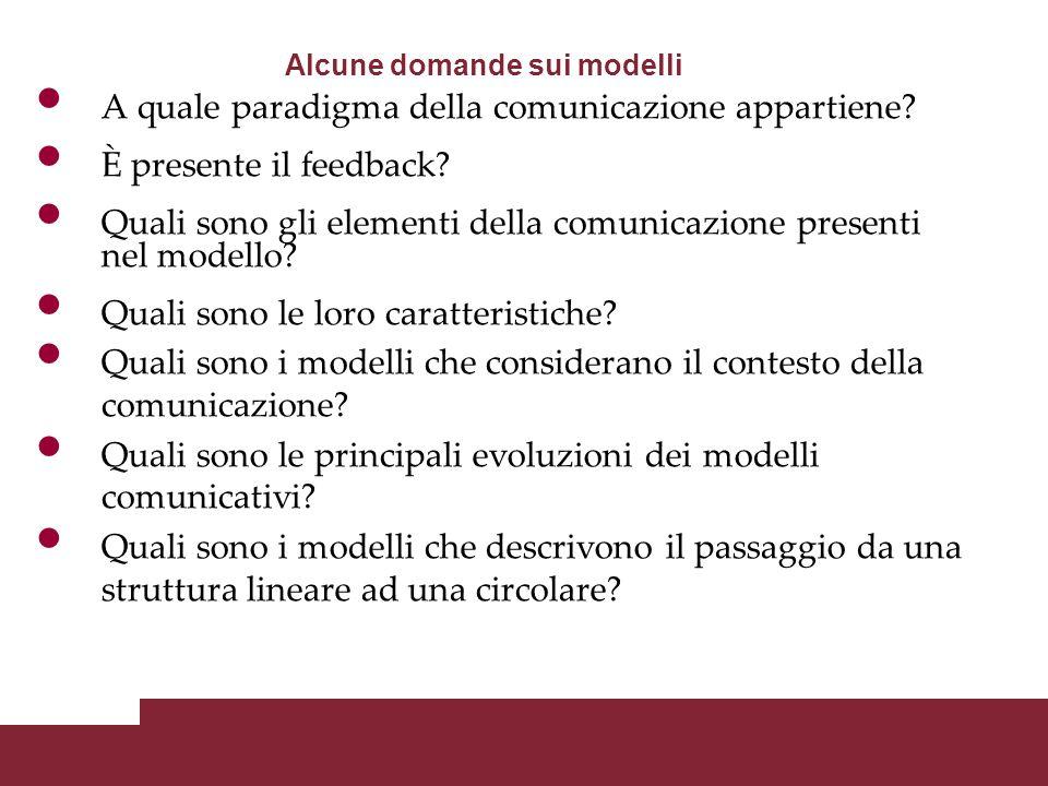 Alcune domande sui modelli