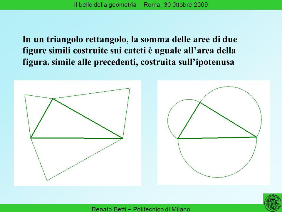 In un triangolo rettangolo, la somma delle aree di due