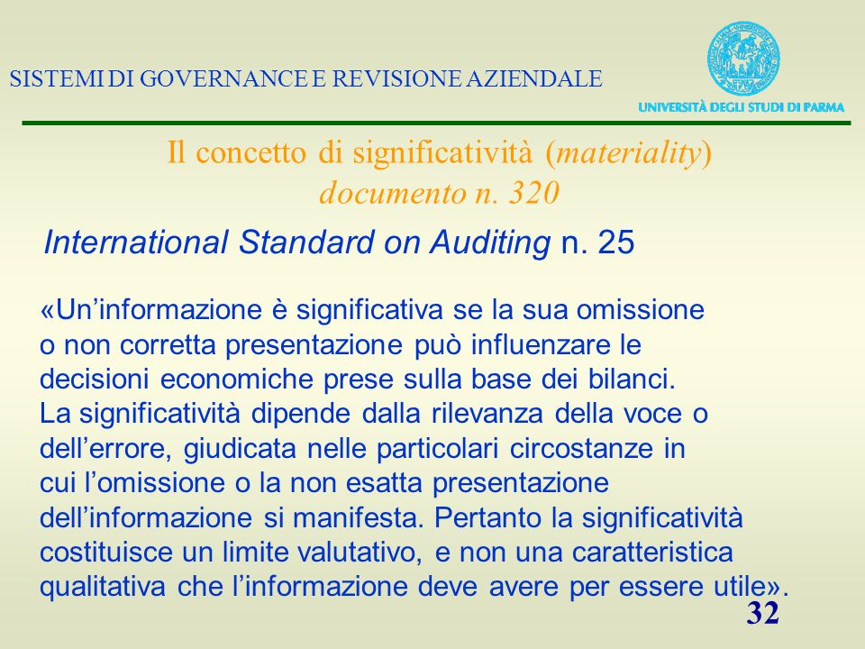 Il concetto di significatività (materiality) documento n. 320