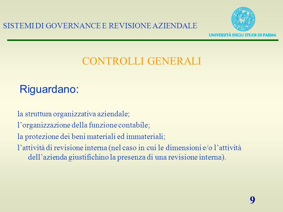 CONTROLLI GENERALI Riguardano: la struttura organizzativa aziendale;