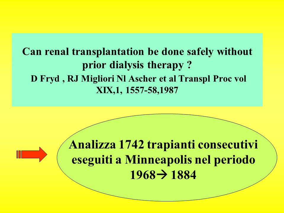 Can renal transplantation be done safely without prior dialysis therapy D Fryd , RJ Migliori Nl Ascher et al Transpl Proc vol XIX,1, 1557-58,1987