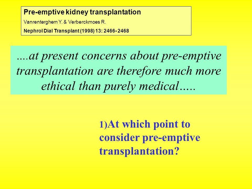 Pre-emptive kidney transplantation