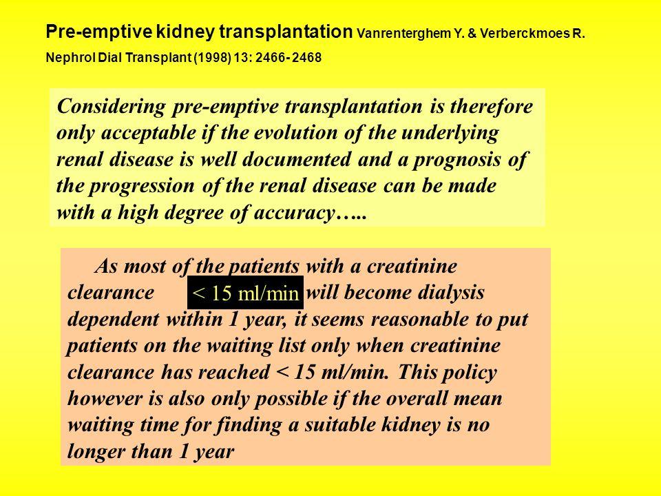 Pre-emptive kidney transplantation Vanrenterghem Y. & Verberckmoes R.