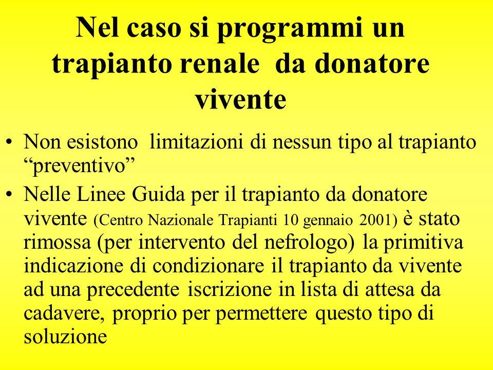 Nel caso si programmi un trapianto renale da donatore vivente