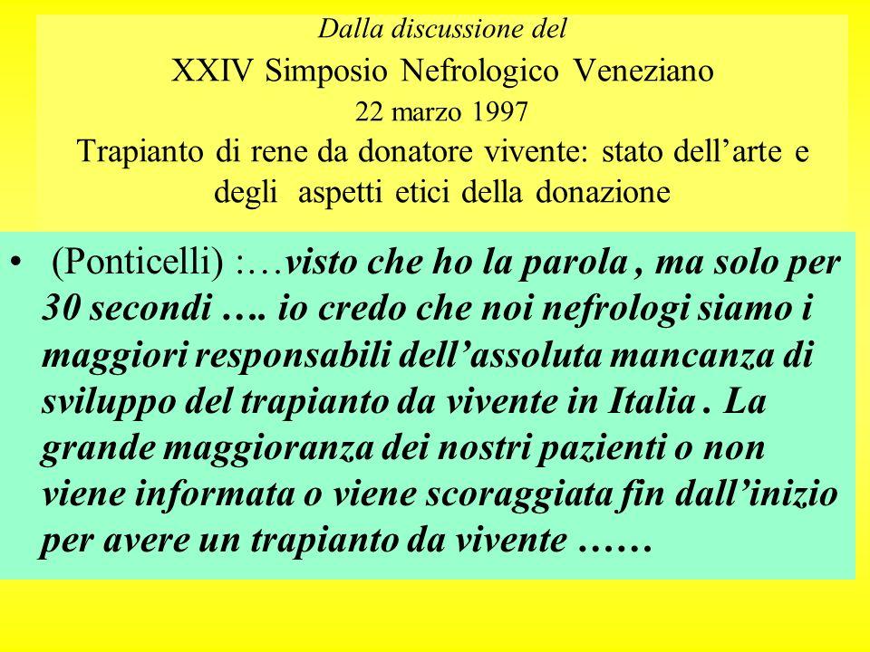 Dalla discussione del XXIV Simposio Nefrologico Veneziano 22 marzo 1997 Trapianto di rene da donatore vivente: stato dell'arte e degli aspetti etici della donazione