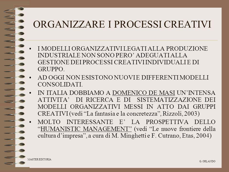 ORGANIZZARE I PROCESSI CREATIVI