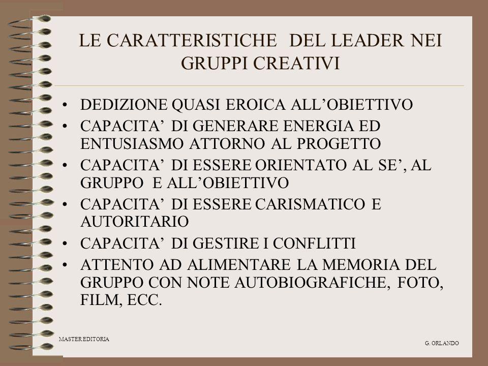 LE CARATTERISTICHE DEL LEADER NEI GRUPPI CREATIVI