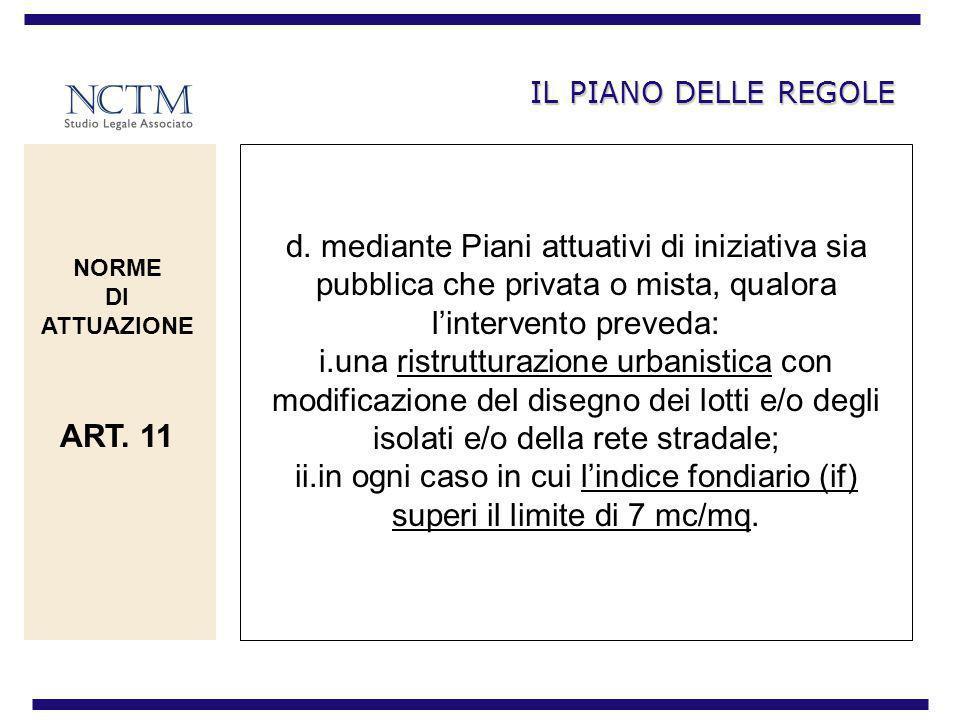 IL PIANO DELLE REGOLE d. mediante Piani attuativi di iniziativa sia pubblica che privata o mista, qualora l'intervento preveda: