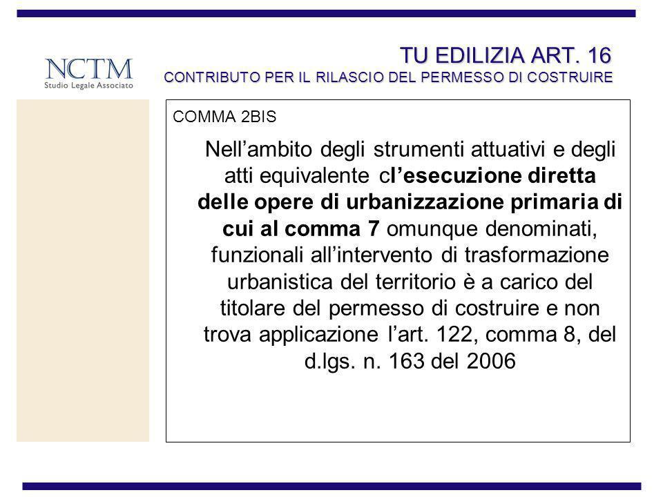 TU EDILIZIA ART. 16 CONTRIBUTO PER IL RILASCIO DEL PERMESSO DI COSTRUIRE