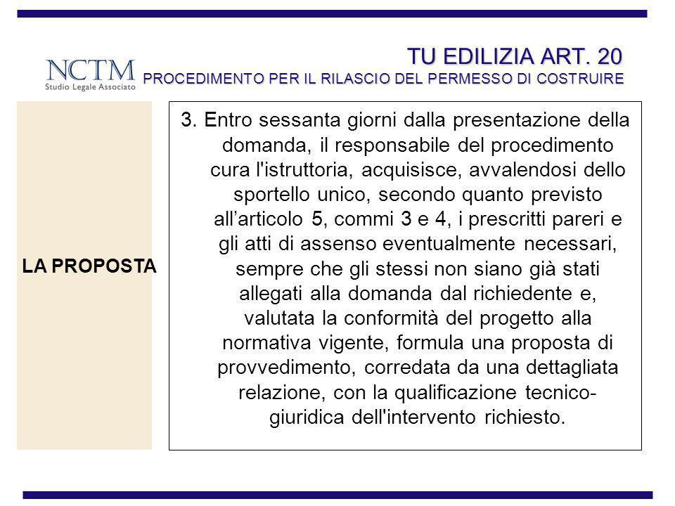 TU EDILIZIA ART. 20 PROCEDIMENTO PER IL RILASCIO DEL PERMESSO DI COSTRUIRE