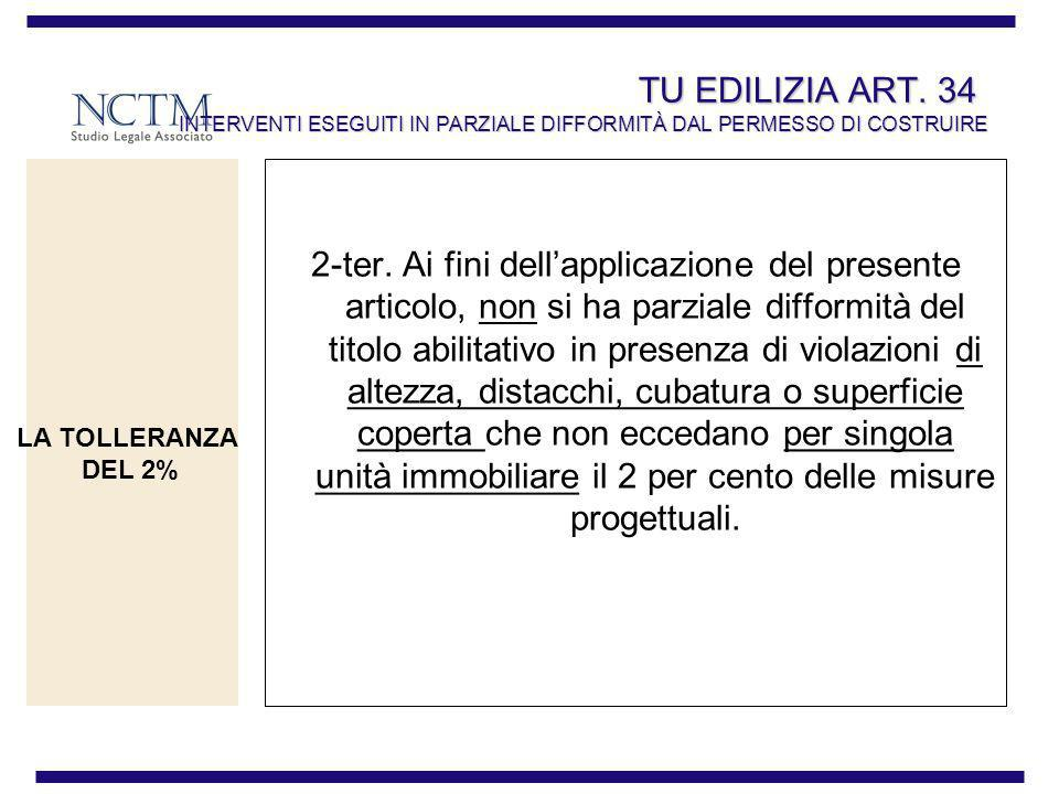 TU EDILIZIA ART. 34 INTERVENTI ESEGUITI IN PARZIALE DIFFORMITÀ DAL PERMESSO DI COSTRUIRE