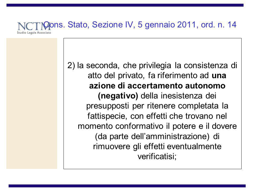 Cons. Stato, Sezione IV, 5 gennaio 2011, ord. n. 14
