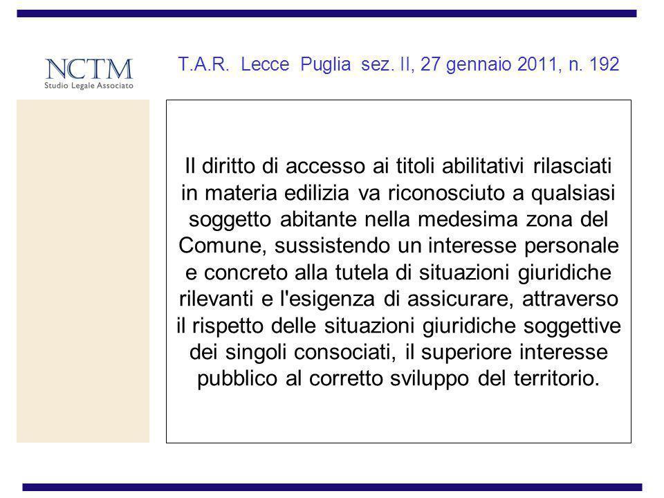 T.A.R. Lecce Puglia sez. II, 27 gennaio 2011, n. 192