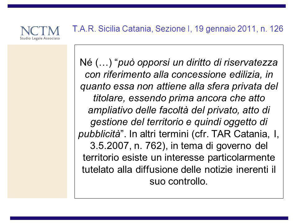 T.A.R. Sicilia Catania, Sezione I, 19 gennaio 2011, n. 126