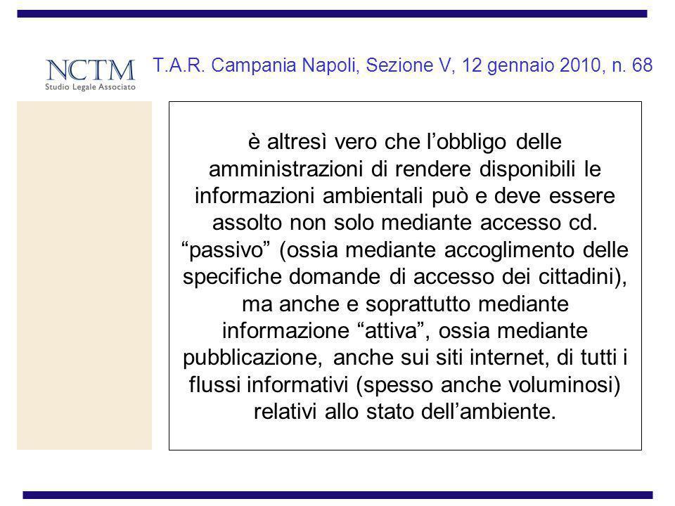 T.A.R. Campania Napoli, Sezione V, 12 gennaio 2010, n. 68